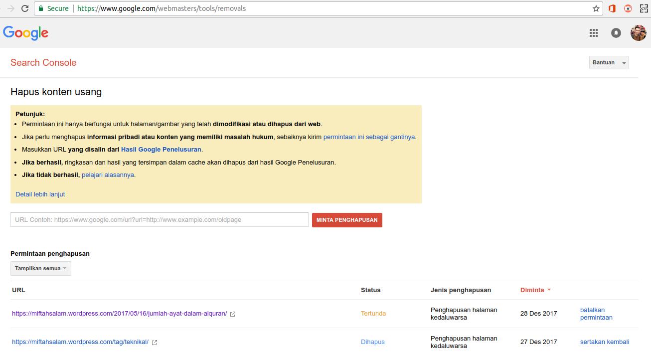 Cara Hapus URL Dari Pencarian Google